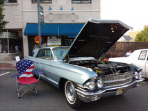 Classic Car Show with American Flag, USA Royalty Free Stock Photo