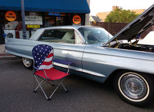 Classic Car Show with American Flag, USA Royalty Free Stock Photography