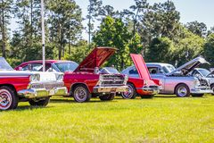 Classic car show lineup royalty free stock photo