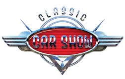 Classic Car Show Logo Chrome. Auto American Vintage Artwork V8 Wings Style Design Reno royalty free stock photography