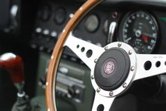 Steering Wheel On Classic Car Stock Photo Image