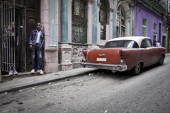 Classic Car, Street, Havana, Cuba Stock Photos