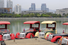 Classic car styling pleasure boat in the haicang lake Royalty Free Stock Photography