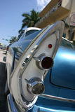 Classic car tail lights. Classic sky blue car tail lights stock photos