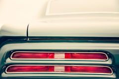 Classic car tail lights. Close-up of classic car tail lights stock photo