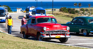 Classic car taxi near by the fortress in havana Stock Image