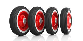 Classic car tyres isolated on white. 3d illustration. Vintage car tyres isolated on white background. 3d illustration Royalty Free Stock Images