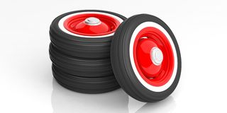 Classic car tyres isolated on white. 3d illustration. Vintage car tyres isolated on white background. 3d illustration Stock Photos