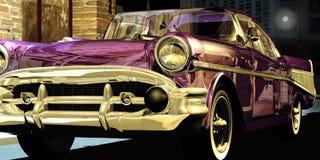 Classic car under the city lights. A classic red Chevrolet Bel-Air car in a Manhattan street, under the city lights reflected on its body vector illustration