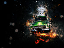 Classic car. Vintage old car in fire effect, chevy Stock Photo