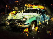 Classic car. Vintage old car in fire effect, chevy Royalty Free Stock Photography