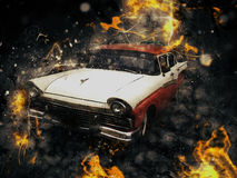 Classic car. Vintage old car in fire effect, chevy Stock Image