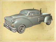 Classic Car Vintage Poster Illustration Stock Photos