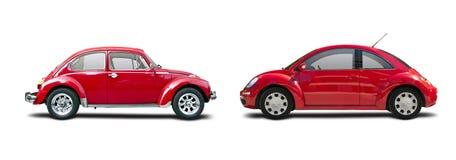 Classic car vs new car Stock Photos