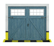 Classic car wooden garage on white Stock Photography