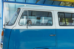 Classic caravan. German old blue transporter. Parked royalty free stock photography