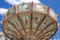 Classic carousel. Classic, retro carousel. Funfair on sunny day Nuremberger Volksfest, Bavaria, Germany royalty free stock image