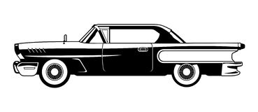 Classic Cars - 60s. Black and white  illustration of classic car Stock Images