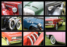 Classic Cars. A background with different pictures of classic cars Stock Photography