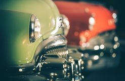 Classic Cars Auction. Row of Retro Vehicles Set For Sale. Automotive Industry royalty free stock photo