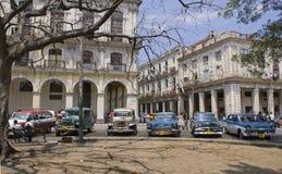 Classic cars at Cuba. Class American Cars parked at Old Havana, Cuba Royalty Free Stock Photos