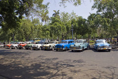 Classic cars at Cuba. Class American Cars parked at Old Havana, Cuba Royalty Free Stock Photo