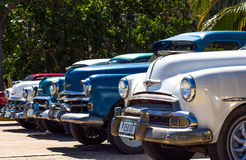 Classic cars in cuba in the line Stock Photo