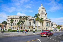 Classic cars in front of the Capitol  in Havana. Stock Images