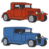 Classic cars. Hand drawing of a red and blue hotrods Stock Images