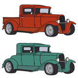 Classic cars. Hand drawing of two classic cars Royalty Free Stock Photo