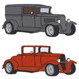Classic cars. Hand drawing of two classic cars Royalty Free Stock Photography