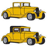 Classic cars. Hand drawing of two yellow hotrods Royalty Free Stock Image
