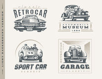 Classic cars illustrations on light background Stock Image