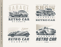 Classic cars illustrations on light background Royalty Free Stock Image