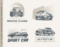 Classic cars illustrations on light background Royalty Free Stock Photo