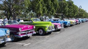 Classic cars in line, Havana, Cuba Royalty Free Stock Photo