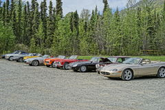 Classic Cars lined up. Royalty Free Stock Photos