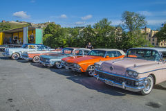 Classic cars lined up Stock Photography