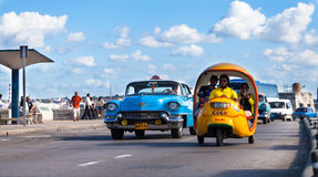 Classic cars on the maleconin cuba havana city Royalty Free Stock Photography