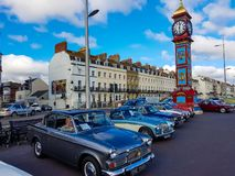Classic cars outside Victoria Clock tower. Victoria clock tower classic car show    cars outside stock photography
