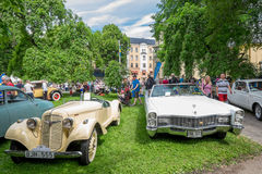Classic cars parked in the park Royalty Free Stock Image