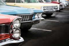 Classic cars. Parked in a row Stock Photo