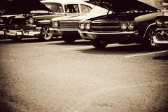 Classic cars. Photograph of classic cars in a row stock photo