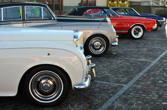 Classic cars in a raw Royalty Free Stock Photography