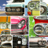 Classic cars, retro automobile collage Stock Images