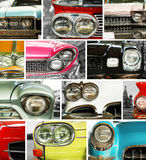 Classic cars, retro automobile collage Royalty Free Stock Image