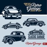 Classic cars. Retro cars garage. Mechanic on duty 24 hours. Royalty Free Stock Image
