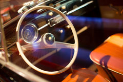 Classic cars. Steering wheel close-up of the first part of Royalty Free Stock Images