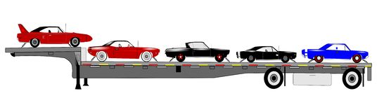 Classic cars on trailer Stock Images