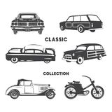 Classic cars, vintage car icons, symbols set.Vintage hand drawn cars, muscle, motorcycle elements. Use for logo, labels. T-shirt prints, tee graphics. Stock Stock Illustration